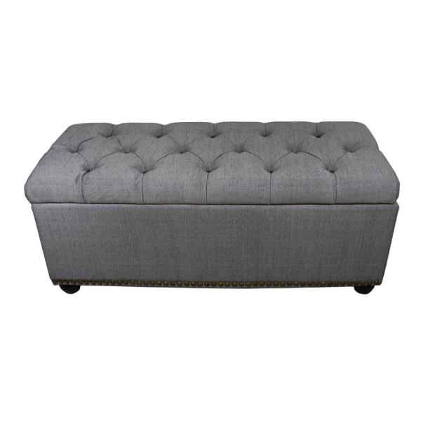 Unbranded 18 in. Tufted Grey Storage Bench and 3-Piece Ottoman .