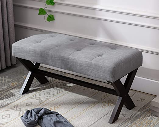 Amazon.com: chairus Fabric Upholstered Entryway Bench Seat, Gray .