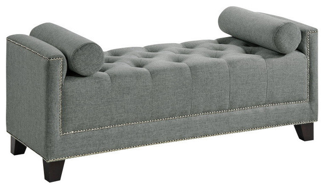 Baxton Studio Hirst Gray Bedroom Bench - Transitional .