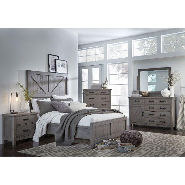 Grey Rustic Contemporary 6 Piece King Bedroom Set - Austin .