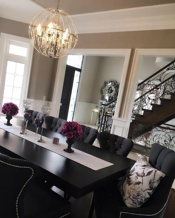Dark Dining Room Modern Ideas | Black dining room, Grey dining .