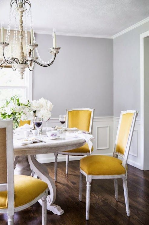 Yellow Dining Chairs - Transitional - dining room - Farrow and .