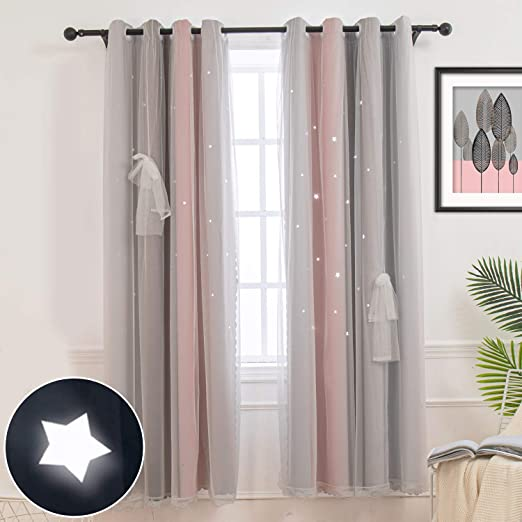 Amazon.com: Hughapy Star Curtains Stars Blackout Curtains for Kids .