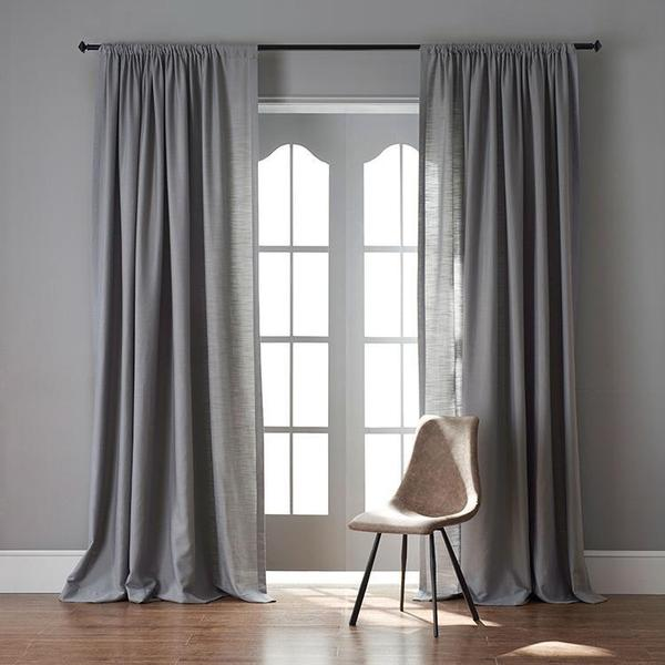 Modern Grey Color Linen Solid Sheer Curtain Window Curtains For .
