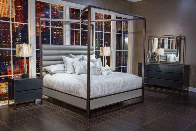 Metro Lights Modern Grey 4-pc Queen Bedroom Set with Eclectic .
