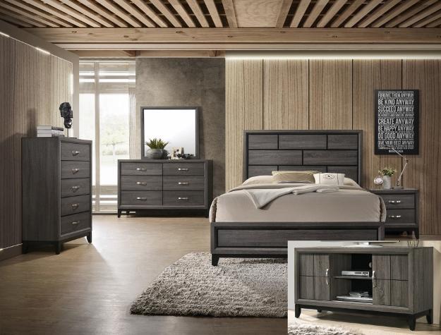 Natalie - Grey - 5-PC Queen Bedroom Set – Mega Furniture