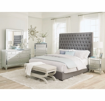 Camille 5-Pc Grey/Metallic Mercury Queen Bedroom Set by Coast