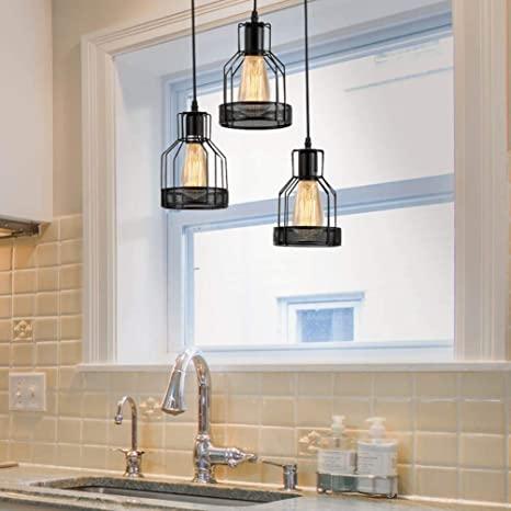 Vintage Lantern Kitchen Light Above Sink, Rustic Black Metal Cage .