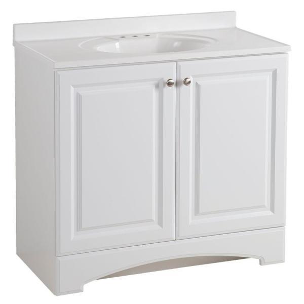 Glacier Bay 37 in. W x 36 in H x 19 in. D Bathroom Vanity in White .