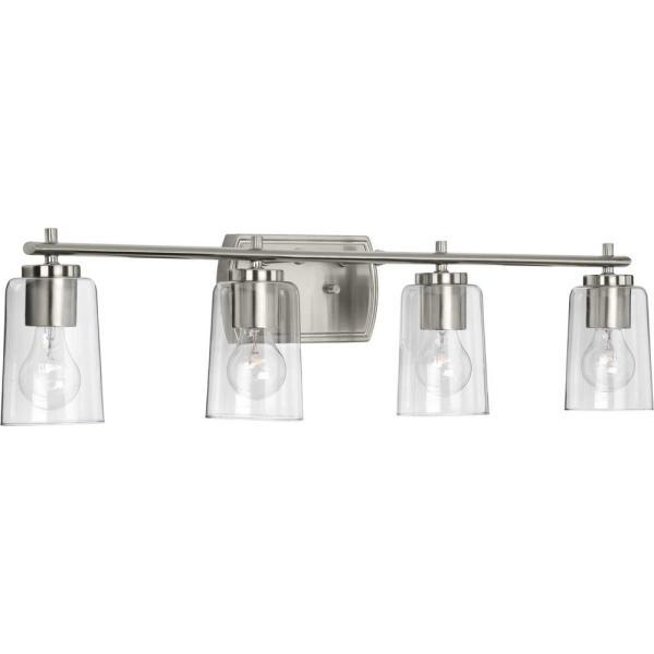 Progress Lighting Adley 4-Light Brushed Nickel Bath Light P300157 .
