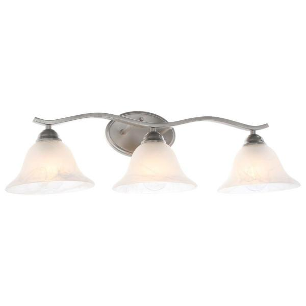 Hampton Bay Andenne 3-Light Brushed Nickel Vanity Light with Bell .