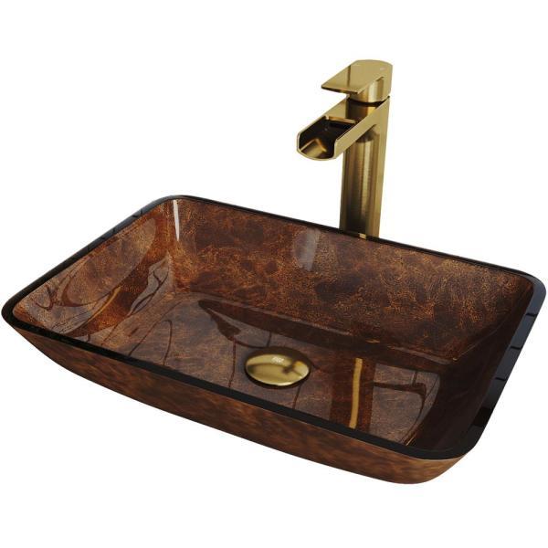 VIGO Russet Glass Vessel Bathroom Sink in Red with Amada Faucet in .