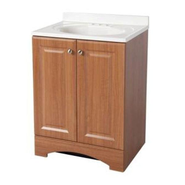 Glacier Bay 24 in. W Bath Vanity in Golden Pecan with Cultured .