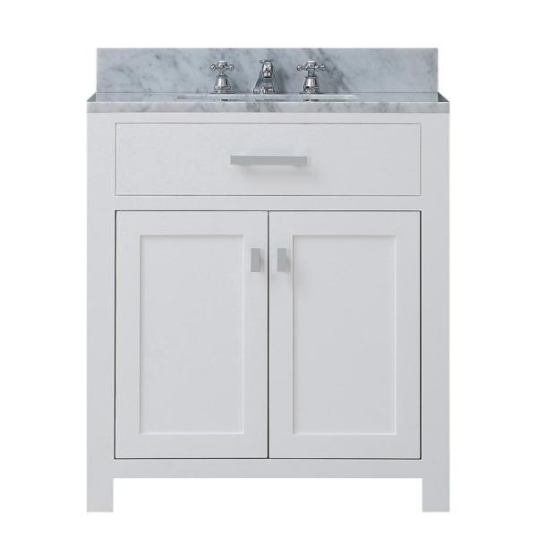 Water Creation Madison 30 in. Vanity in Modern White with Marble .