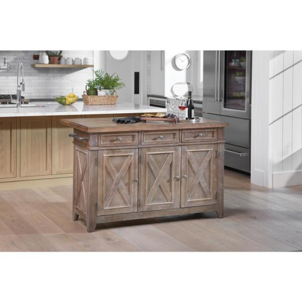 OSP Home Furnishings Cocina Kitchen Island Brown with Wood Top and .
