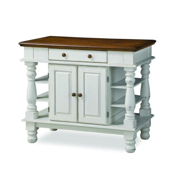 HOMESTYLES Americana White Kitchen Island With Storage-5094-94 .