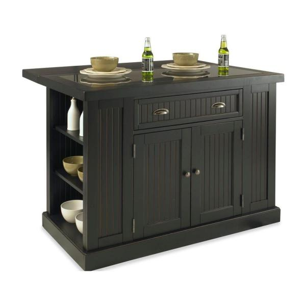HOMESTYLES Nantucket Black Kitchen Island with Granite Top 5033-94 .