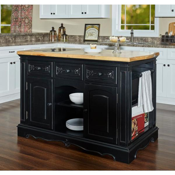 Powell Company Natural Pennfield Black Kitchen Island Granite Top .