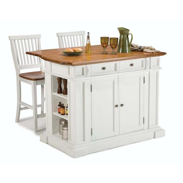 HOMESTYLES Americana White Kitchen Island with Seating-5002-948 .