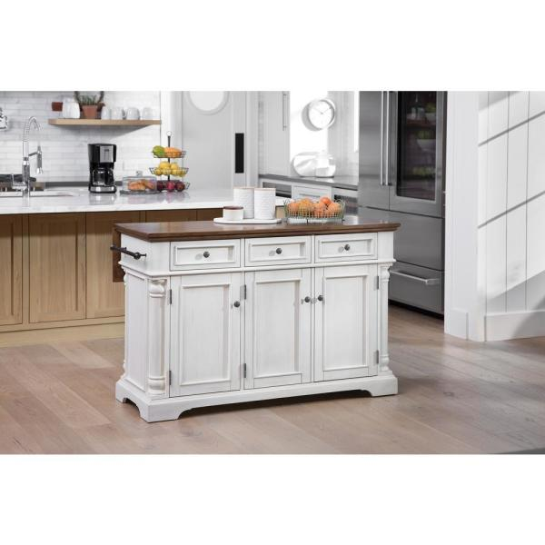 OSP Home Furnishings Cocina Kitchen Island Antique White with Wood .