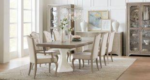 Modern Romance Medium Wood Pedestal Extendable Dining Room Set .