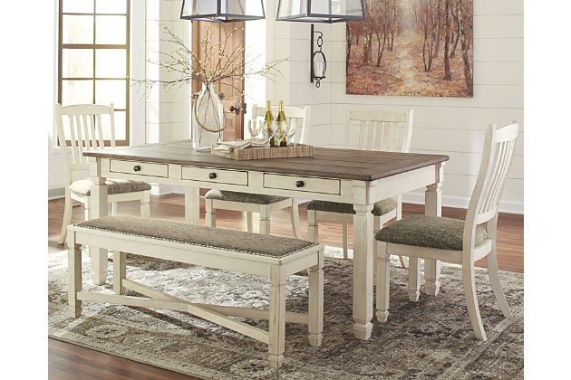 Bolanburg Dining Table and 4 Chairs and Bench Set | Ashley .