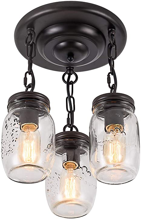 Amazon.com: XIPUDA Mason Jar Lights Fixture Flush Mount Ceiling .