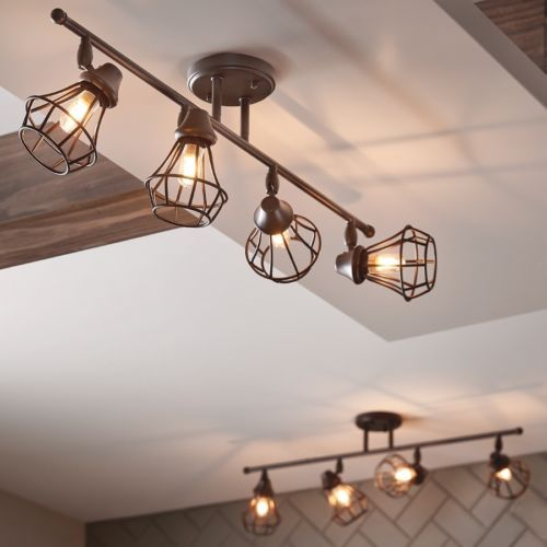 Rustic-Track-Lighting-Kit-4-Fixture-Industrial-Old-Bronze-Dimmable .