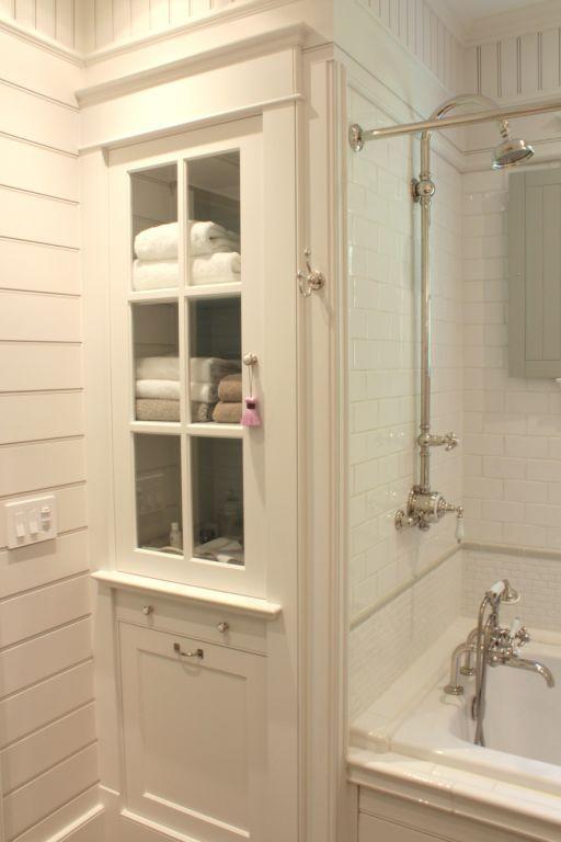Built-in linen cabinet, tile, fixtures | Bathroom, Upstairs .