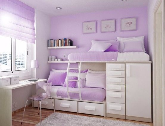Lovely bedroom with split bunk beds built in | Girls bedroom sets .