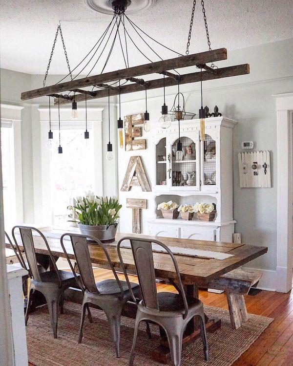 10 DIY Rustic-Industrial Light Fixtures | Rustic dining room .
