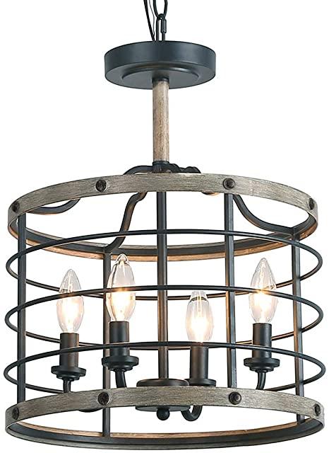 LOG BARN Industrial Cage Chandelier Farmhouse Pendant Lighting 14 .