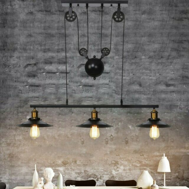 Farmhouse Pulley 3-Light Industrial Chandelier Kitchen Dining Room .
