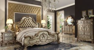 Dresden Luxury 4pc California King Bedroom Set In Antique Gold Pati