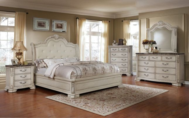 Magnolia Traditional 4pc Queen Bedroom Set Antique White Fini