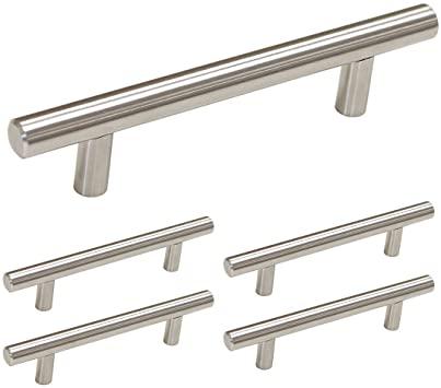 homdiy Brushed Nickel Cabinet Pulls 5 Pack 3.5in Hole Center T Bar .