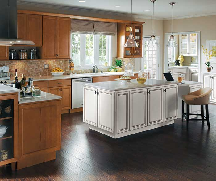 Maple Wood Cabinets with White Kitchen Island - Homecre