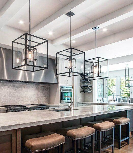 Giant Black Square Chandeliers Kitchen Island Lighting Design Idea .