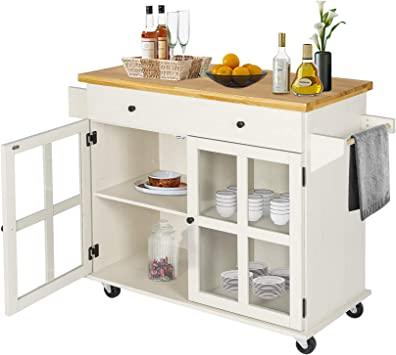 Amazon.com - LAZZO Kitchen Island on Wheels Rolling, Home Kitchen .
