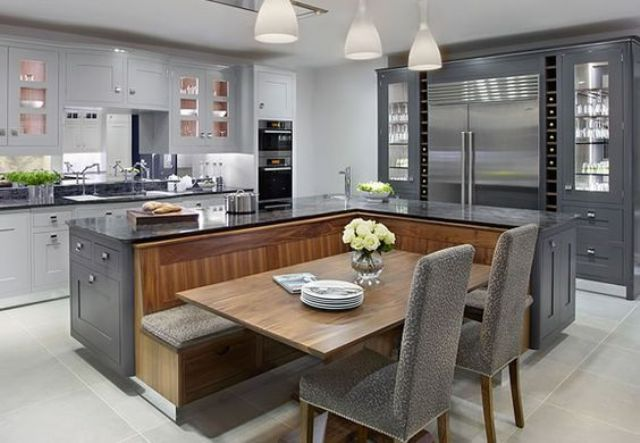 beautiful kitchen with black and wood design | Kitchen seating .