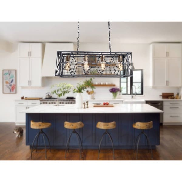 Shop Rectangular Industrial Kitchen Island Lighting, 4-Light .