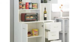 Basicwise White Kitchen Pantry Storage Cabinet with Doors and .