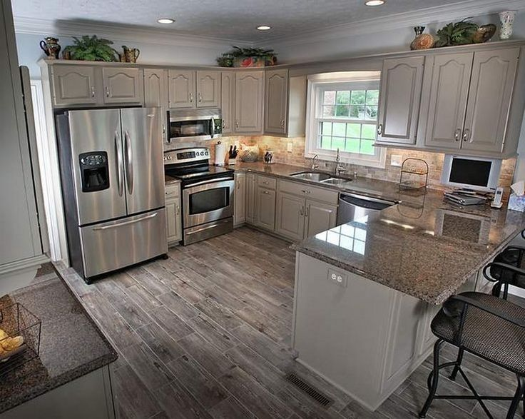 Kitchen, Small Kitchen With Peninsula And Recessed Lighting Over .