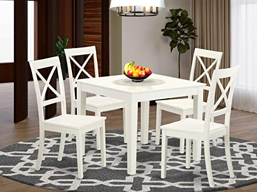 Amazon.com: 5 Pc small Kitchen Table set and 4 hard wood Dining .