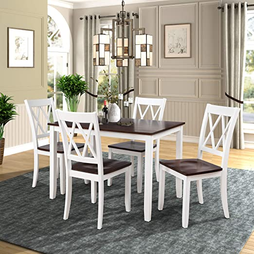 Amazon.com - 5-Piece Dining Table Set Home Kitchen Table and .