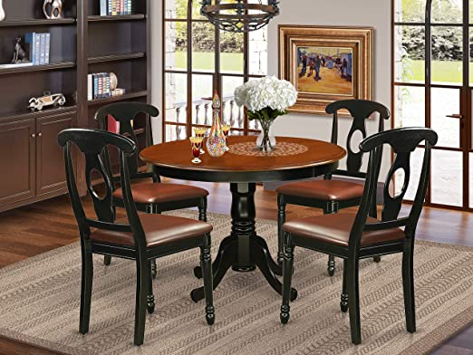 Amazon.com - 5 Pc set with a Round Kitchen Table and 4 Leather .
