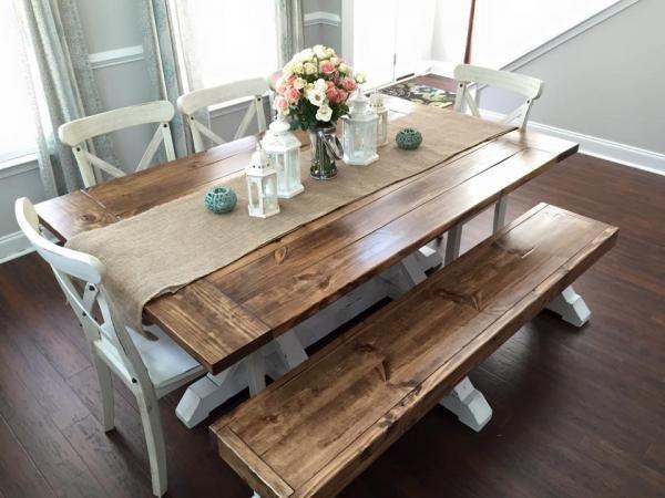 Farmhouse Table & Bench | Kitchen table decor, Farmhouse kitchen .