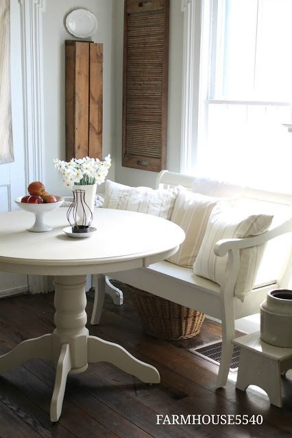 Farmhouse5540| Table, Bench seat, Pillow covers, wooden accents .
