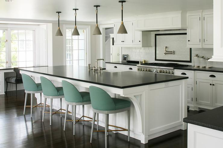 Green fabric Stools at Large Kitchen Island - Transitional - Kitch