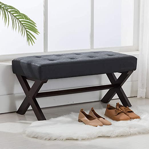 Amazon.com: chairus PU Leather Upholstered Entryway Bench, Faux .